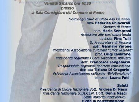Penne, il 3 marzo inaugurazione sportello antiviolenza: stalking, mobbing e bullismo