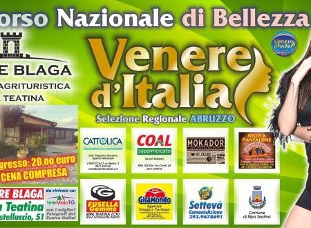 """Ripa Teatina: domenica sera  il concorso di bellezza """"Venere d'Italia"""" a Torre Blaga"""