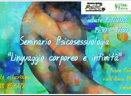 """Teramo: sabato 15 dicembre linguaggio corporeo e intimità"""", seminario di Psico-sessuologiapresso Psiké"""