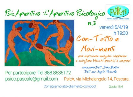 Venerdì 5 aprile terzo appuntamento con lo PsicAperitivo presso il Centro PsicA di Pescara