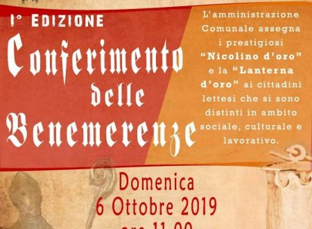 """Lettomanoppello: domenica 6 ottobre  """"Nicolino d'Oro"""" e  """"Lanterna d'Oro"""" a cittadini lettesi meritevoli"""